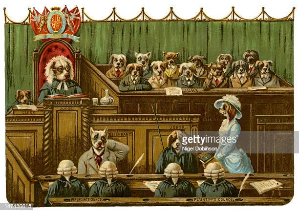 Illustration of a court of law which includes labels that identify the judge the defendant's council the jury and others all of whom are depicted as...