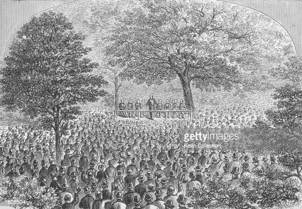 Illustration of a crowd of delegates gathered outdoors 'Under the Oaks' for the first Republican National Convention, Jackson, Michigan, July 6, 1854.
