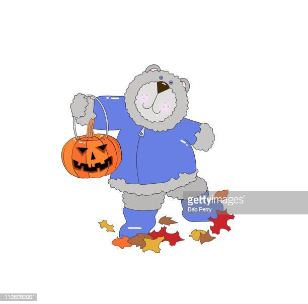 Illustration of a cute bear holding a jack-o-lantern on a white background