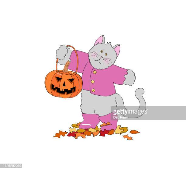 Illustration of a cute cat/kitten holding a jack-o-lantern on a white background