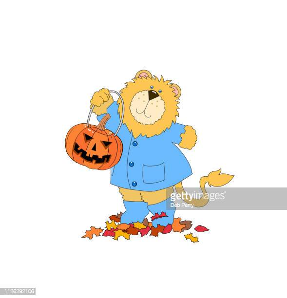 Illustration of a cute lion holding a jack-o-lantern on a white background