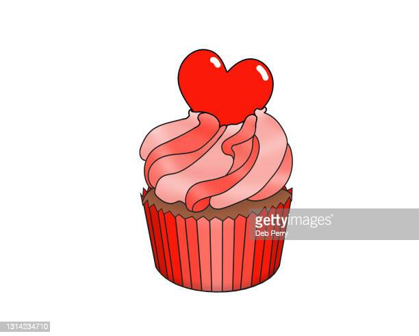 illustration of a delicious valentine cupcake - cake stock pictures, royalty-free photos & images
