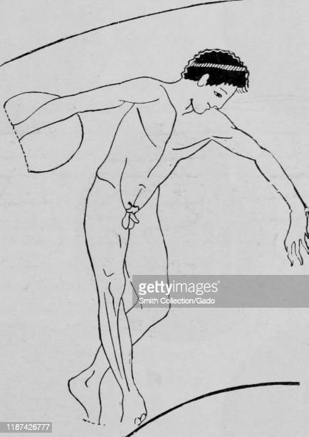 Illustration of a discus thrower participating in a sporting event such as the Olympic Games in ancient Greece 1910 Courtesy Internet Archive