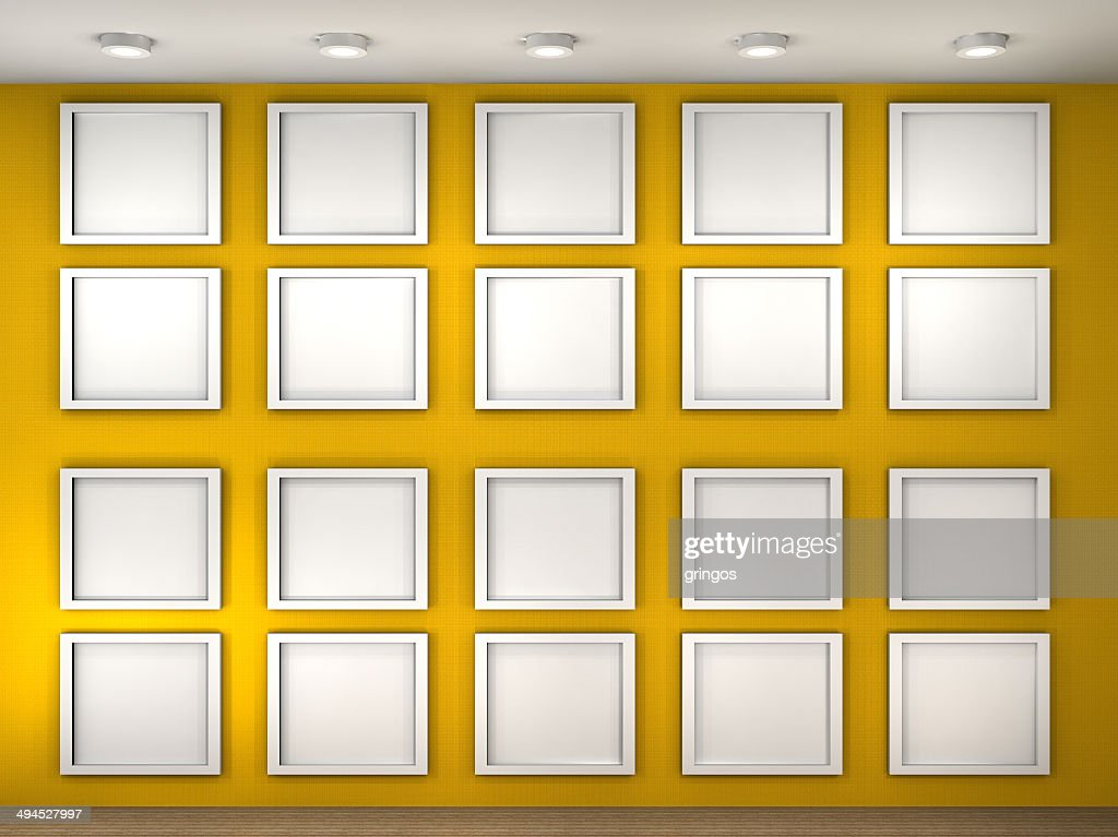 Illustration of a empty museum wall with frames stock photo illustration of a empty museum wall with frames stock photo sciox Images