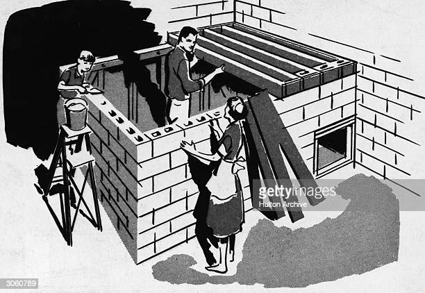 Illustration of a family building a bomb fallout shelter together using sandfilled concrete blocks for roof shielding from a US Department of Defense...