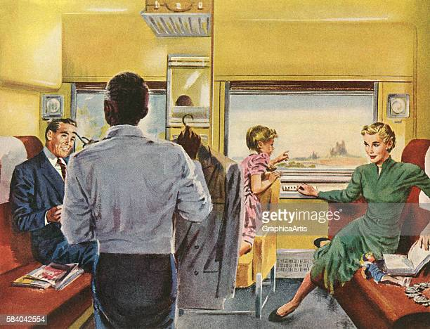 Illustration of a family enjoying a spacious first class cabin while travelling by train 1951 Screen print