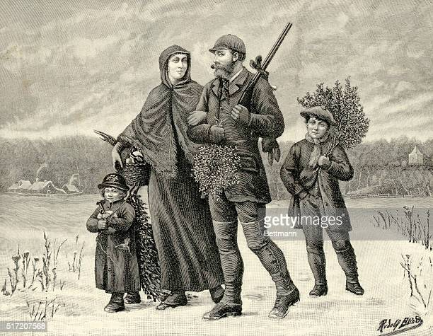 Illustration of a family gathering Christmas supplies from the outofdoors Father is carrying a rifle slung over his shoulder with a rabbit dangling...