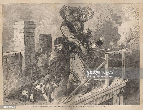 Illustration of a family trapped on the roof of a house during the Great Chicago Fire Chicago Illinois 1871 Illustration from Great Fires