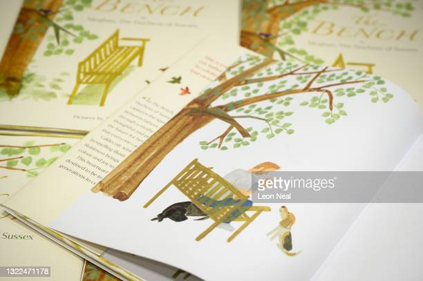 """Illustration of a father and son are seen inside a copy of Meghan Markle's book """"The Bench"""" on a display in Europe's largest bookstore Waterstones..."""