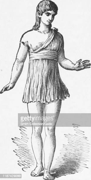 Illustration of a female athlete participating in the Heraean Games a version of the Olympic Games in ancient Greece with original title reading...