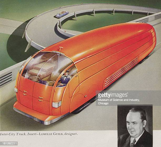 Illustration of a futuristic Intercity Truck/Bus with an advantage of having both front and rear loading driving down a curvy highway and designed by...