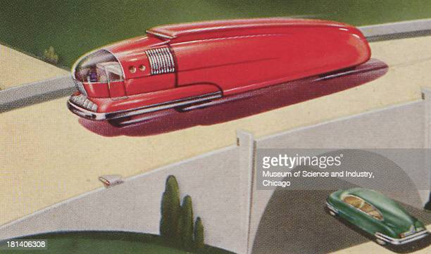 A Illustration of a futuristic red bus driving on bridge and a green car driving under the bridge 1943 It originally appeared in 'Super Transport on...