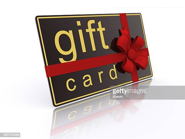 Illustration of a gift card with red ribbon and reflection