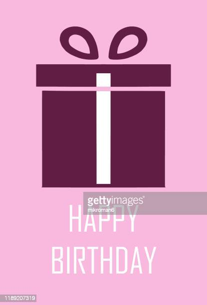 illustration of a gift or a present for birthday - birthday card stock pictures, royalty-free photos & images