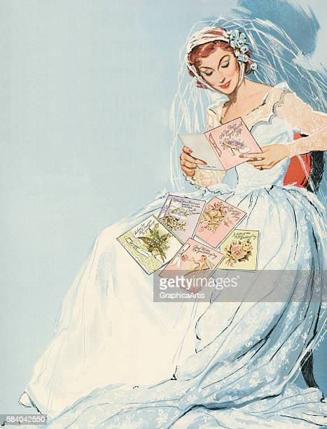 Illustration of a glamorous bride reading greeting cards on the occasion of her wedding 1952 Screen print
