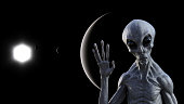 Illustration of a gray alien in space waving goodbye with a dark planets and a sun in the background.