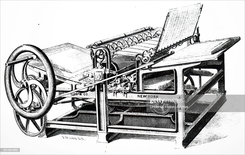 Illustration of a hand printing machine in which the bed moved backwards and forwards on a railway type of track, and 800 impressions were made per hour. Nineteenth Century, London 1876.