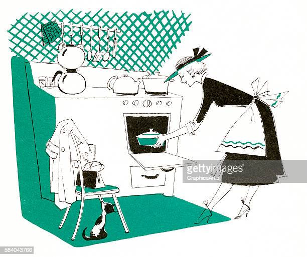 Illustration of a happy housewife putting a casserole in the oven for the family dinner 1954 Lithograph