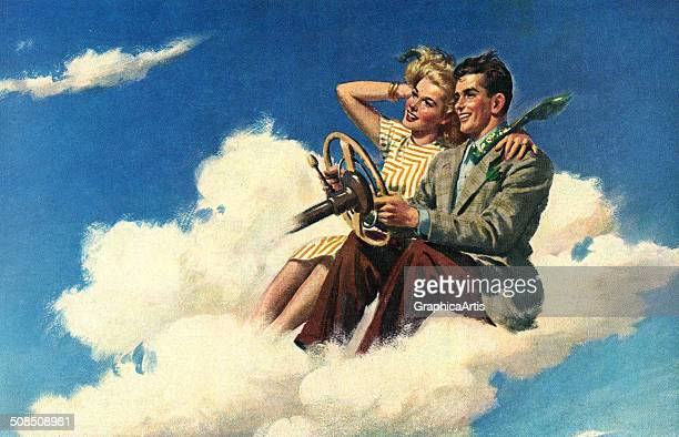Illustration of a happy young couple driving a car made of clouds, 1950s. Screen print.