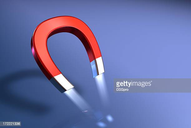 illustration of a horseshoe magnet's attractive power - horseshoe magnet stock pictures, royalty-free photos & images