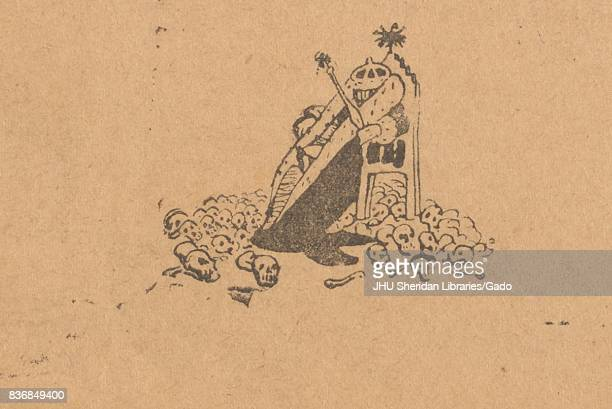 Illustration of a king or other royal slouching in a throne while holding a scepter with a pile of skulls at his feet from the Russian satirical...