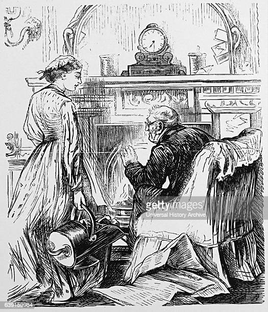 Illustration of a maid speaking with the elderly owner of the house Dated 19th Century