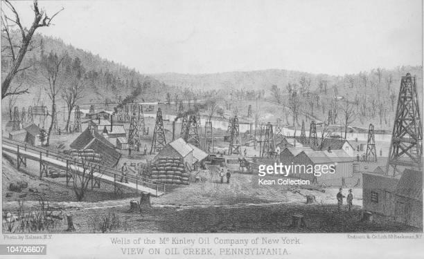 Illustration of a McKinley Oil Company of New York refinery in Oil Creek Pennsylvania circa 1880