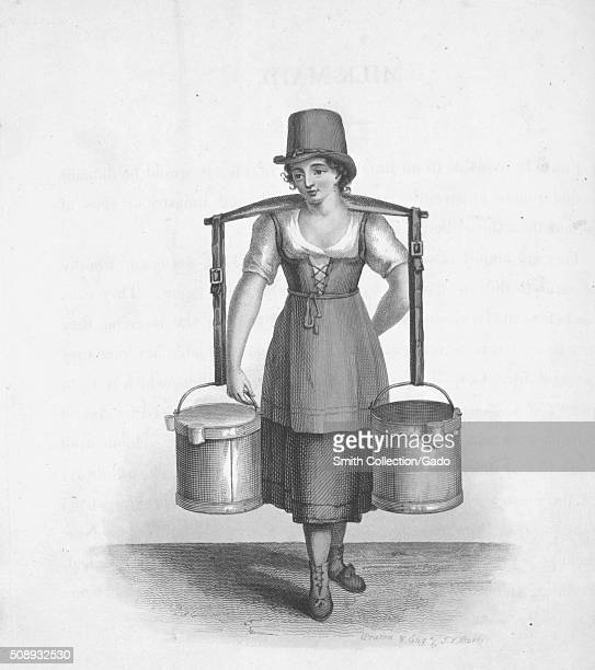 Illustration of a milkmaid seen carrying buckets by using a shoulder yoke transporting milk after milking a cow 1820 From the New York Public Library