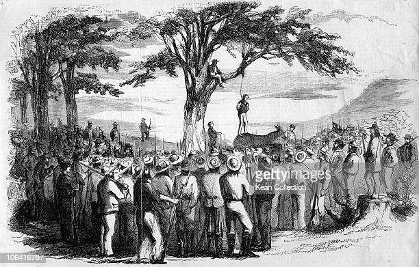Illustration of a murderer being lynched by a mob in California circa 1850