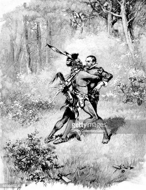 Illustration of a Native American man with a feather headdress and traditional dress attacking a surprised colonial American settler in a wooded area...