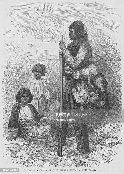 Illustration of a native digger indian of the Sierra Nevada mountains hunting rabbits with his children circa 1880