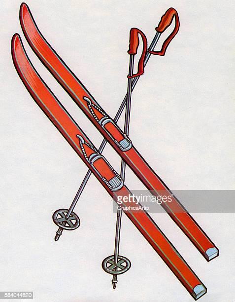 Illustration of a pair of skiis and ski poles 1967 Screen print