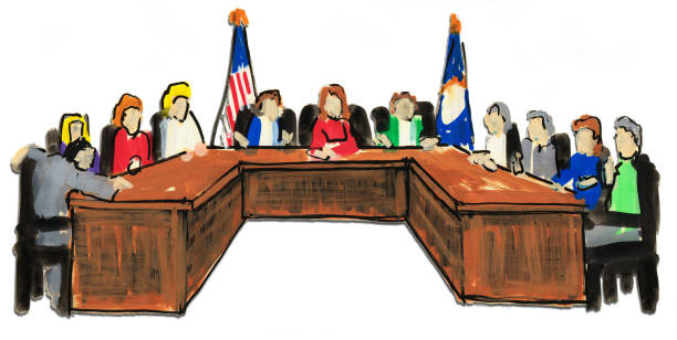 Illustration of a Panel with Flags Behind