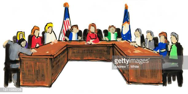 illustration of a panel with flags behind - government minister stock pictures, royalty-free photos & images