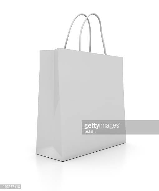 illustration of a plain white shopping bag - shopping bag stock pictures, royalty-free photos & images