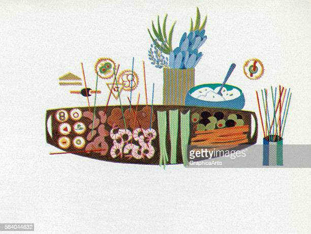 Illustration of a platter filled with appetizers 1957 Screen print