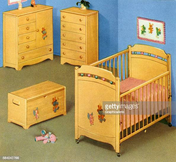 Ilration Of A Retro Children S Furniture Set For