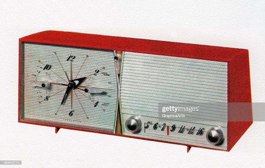 Illustration of a retro clock radio, 1958. Screen print.
