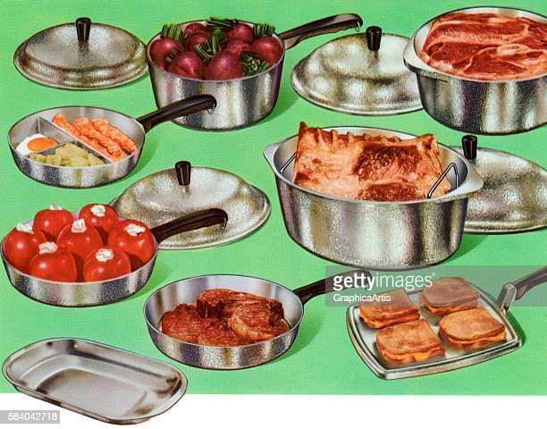 Illustration of a retro set of pots and pans for home cooking 1958 Screen print