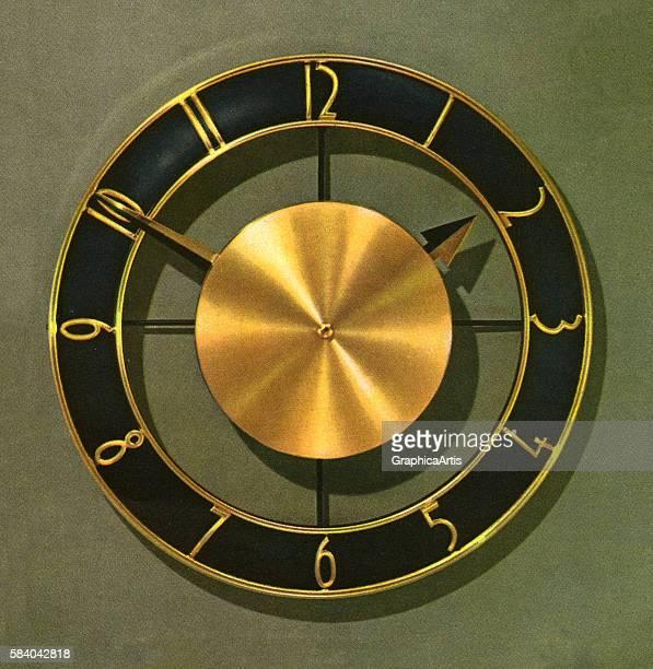 Illustration of a retro wall clock 1958 Screen print