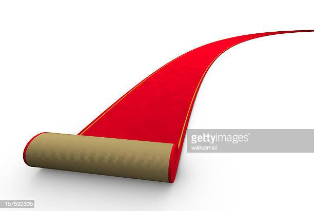 Illustration of a rolling red carpet on a white background