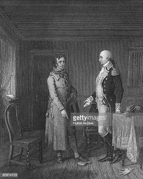 Illustration of a scene from the espionage novel 'The Spy A Tale of the Neutral Ground' written by American novelist James Fenimore Cooper published...