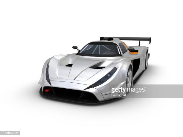 Illustration of a silver race car over a white background
