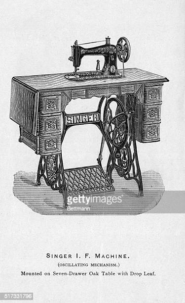 Illustration of a Singer sewing machine mounted on a sevendrawer oak table with drop leaf Undated engraving