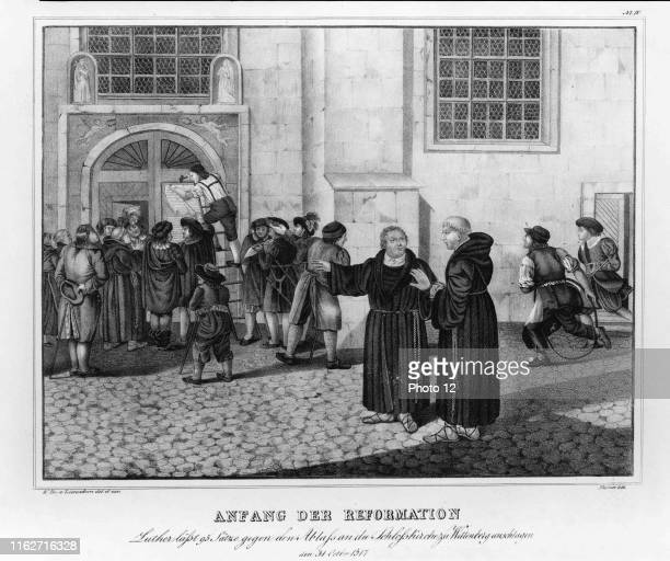 Illustration of a small crowd has gathered to watch as Martin Luther directs the posting of his 95 theses, protesting the practice of the sale of...