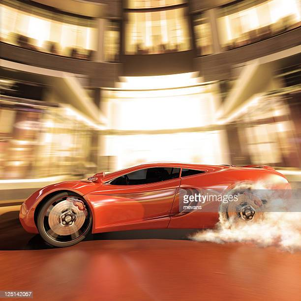 Illustration of a sport car making a high speed burnout
