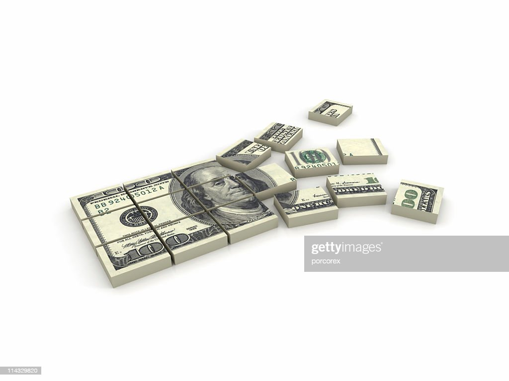 Illustration of a stack of $100 bills broken in squares : Stock Photo