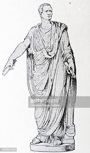 Illustration of a statue depicting Lucius Antonius younger brother and supporter of Mark Antony a Roman politician