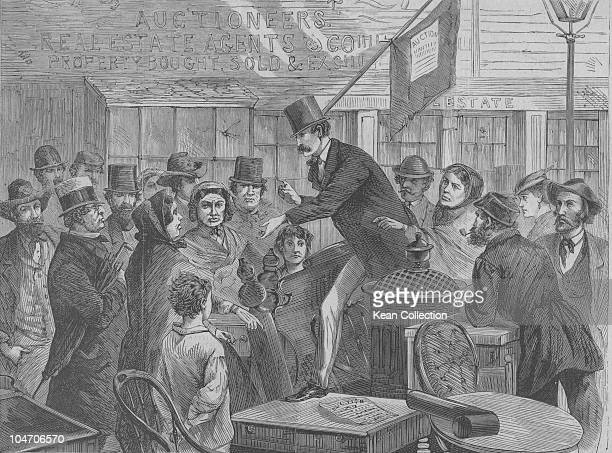 Illustration of a street auction scene in New York City circa 1860