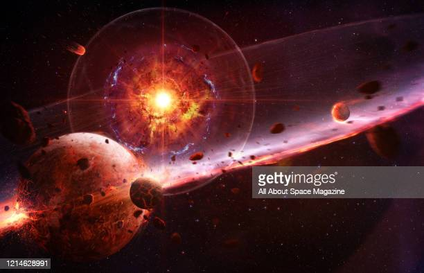 Illustration of a supernova explosion destroying planets, created on July 19, 2015.